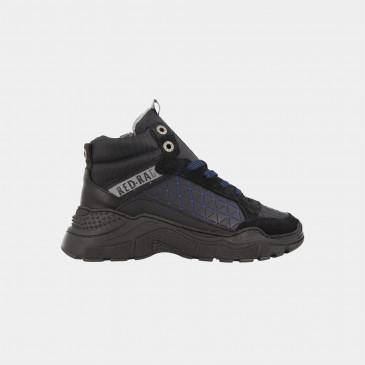 Hoge Blauw Zwarte Sneakers | Red-Rag 13289