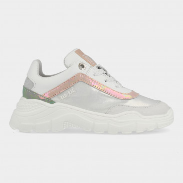 Roze Witte Sneakers Met Rits | Red-Rag 13010