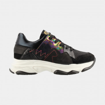 Zwarte Sneakers Holographic Laag | Red-Rag 13046