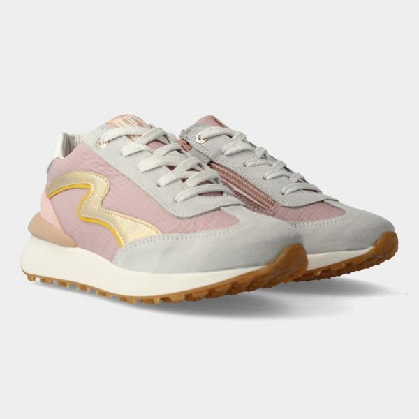 Grijs Roze Sneakers Met Rits | Red-Rag 13038