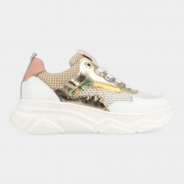 Goud Witte Sneakers | Red-Rag 13030
