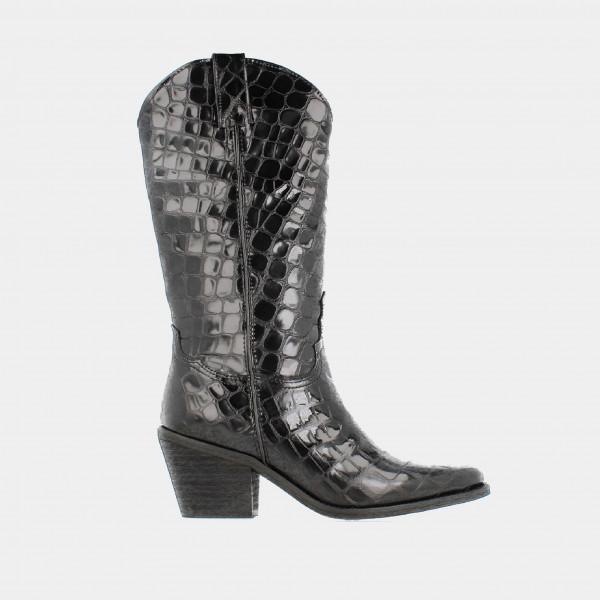 Zwarte Hoge Lak Cowboy Laarzen Croco Print | Red-Rag 77082