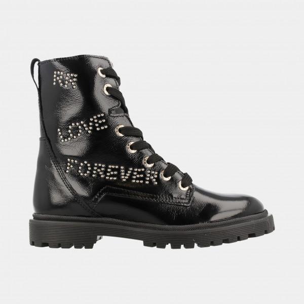 Zwarte Lak Biker Boots | Red-Rag 11092