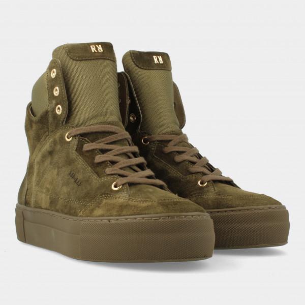 Hoge Groene Suede Sneakers   Red-Rag 74468