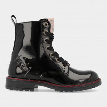 Zwarte Lak Biker Boots   Red-Rag 12288