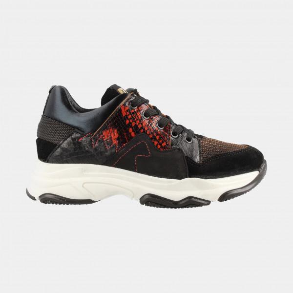 Zwarte Sneakers Dieren Print Laag | Red-Rag 13046