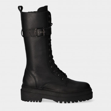 Hoge Zwarte Veter Boots | Red-Rag 71210
