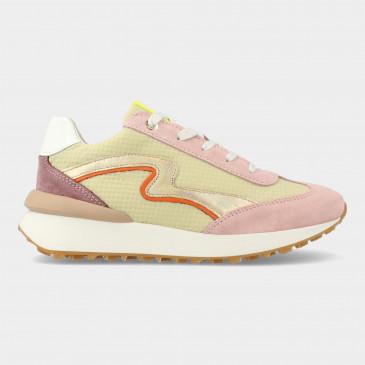 Groen Roze Sneakers Met Rits | Red-Rag 13038