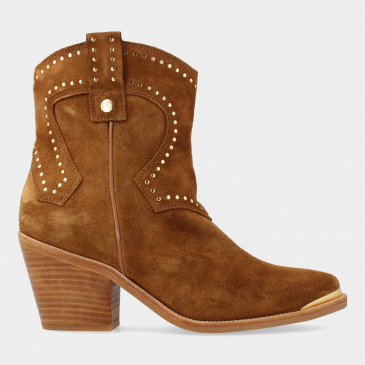 Cognac Suede Cowboy Laarsjes | Red-Rag 77156