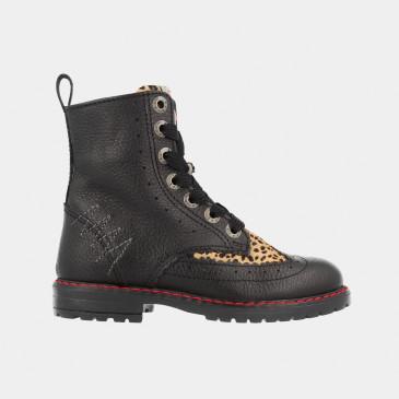 Zwarte Boots Leopard Print   Red-Rag 12088
