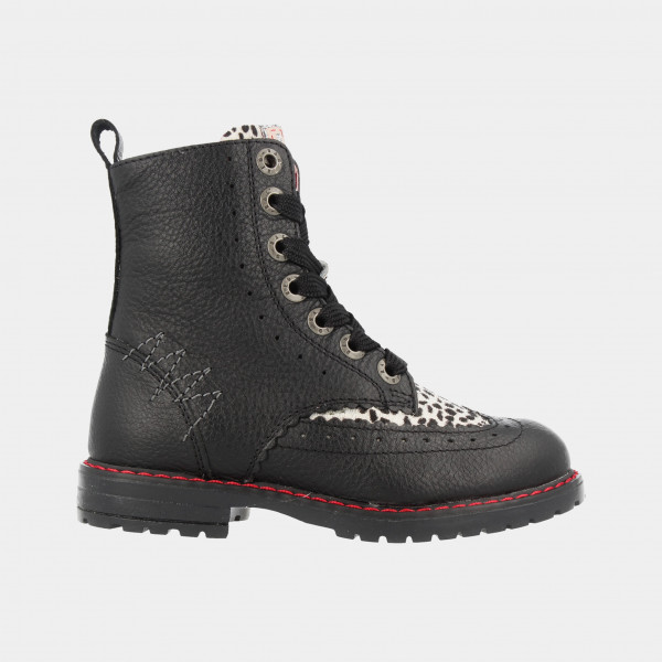 Zwarte Boots Panter Print   Red-Rag 12088