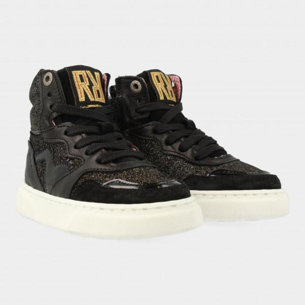 Zwarte Hoge Sneakers Met Glitters | Red-Rag 13128