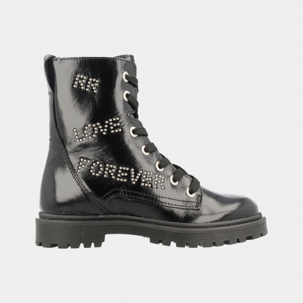 Zwarte Lak Biker Boots | Red-Rag 11118