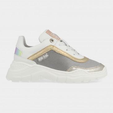 Zilver Witte Sneakers Met Rits | Red-Rag 13010