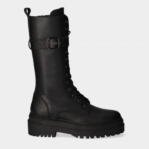 Hoge Zwarte Veter Boots   Red-Rag 71210