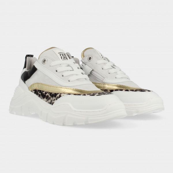 Goud Witte Sneakers Met Leopard Print | Red-Rag 13262