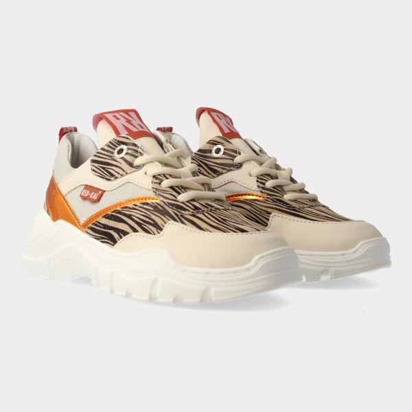Beige Sneakers Met Zebra Print | Red-Rag 13090