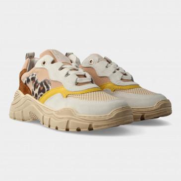 Beige Sneakers Met Leopard Print | Red-Rag 13042