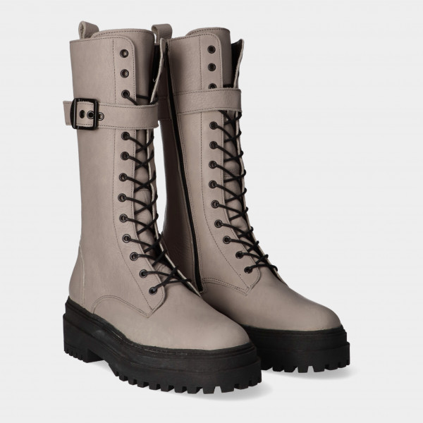 Hoge Taupe Veter Boots | Red-Rag 71212