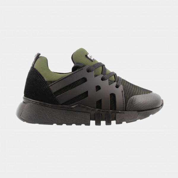 Zwart Groene Sneakers Laag | Red-Rag 13243