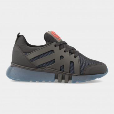 Zwarte Sneakers Met Blauwe Zool | Red-Rag 13557
