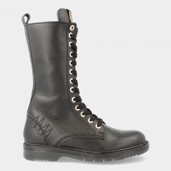 Hoge Zwarte Veter Boots | Red-Rag 12308