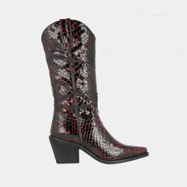 Bordeaux Hoge Lak Cowboy Laarzen Croco Print | Red-Rag 77082